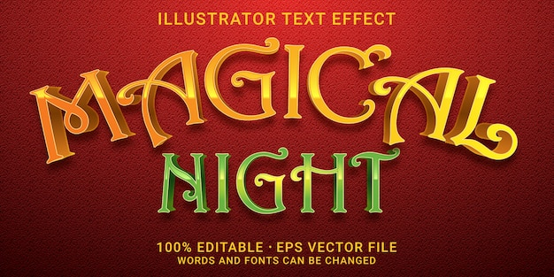 3d editable text effect -  magical night style