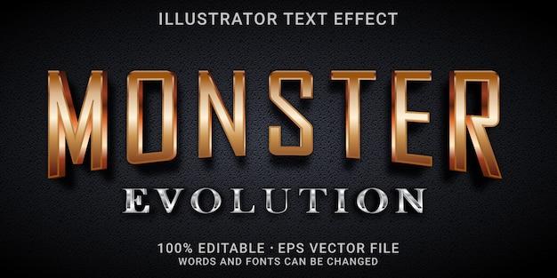 Редактируемый текстовый эффект 3d - стиль эволюции монстров
