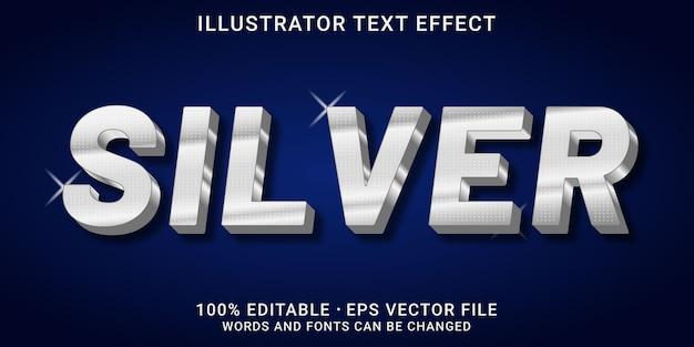 Редактируемый 3d текстовый эффект - серебряный стиль