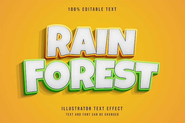 3d editable text effect yellow gradation green comic text style