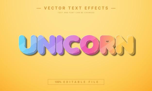 3d 편집 가능한 유니콘 텍스트 효과 디자인