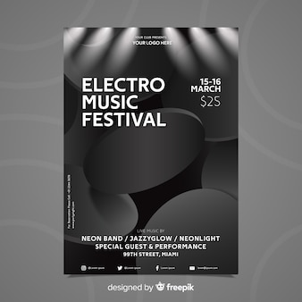 3d effect abstract effect electronic music poster template