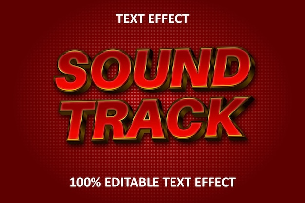 3d effect music editable text effect red gold