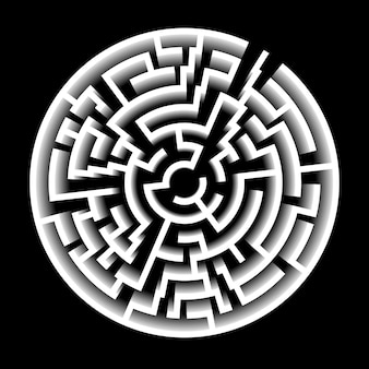3d effect vector maze. circle labyrinth illustration