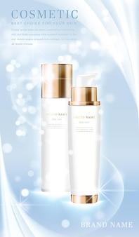 光沢のある水色のきらめくテンプレートバナー付きの3dエレガントな化粧品ボトルコンテナ。