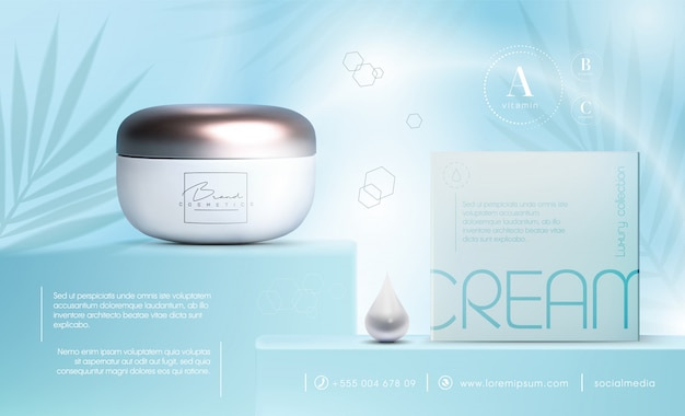 3d elegant cosmetic products   cream jar for skin care products. luxury facial cream. cosmetic ads flyer or banner design. blue cosmetic cream template. makeup products brand.