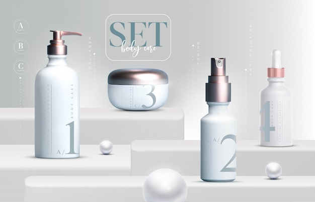 3d elegant cosmetic products set   cream jar packaging for skin care. luxury facial cream. cosmetic ads flyer or banner design. cosmetic cream template. makeup products brand.