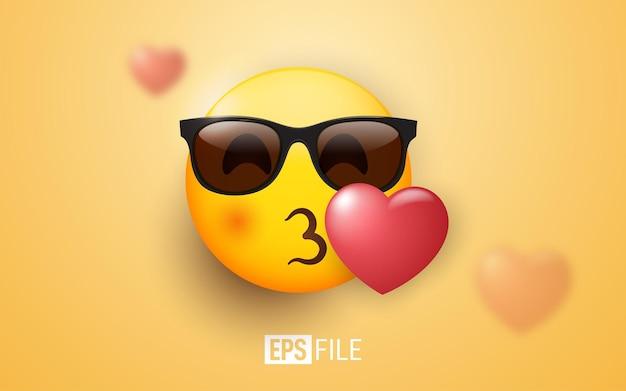 오렌지에 3d 이모티콘 키스 선글라스