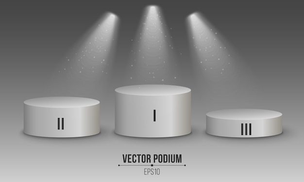 3d empty white podium. numbers first, second and third top places. white spotlights.