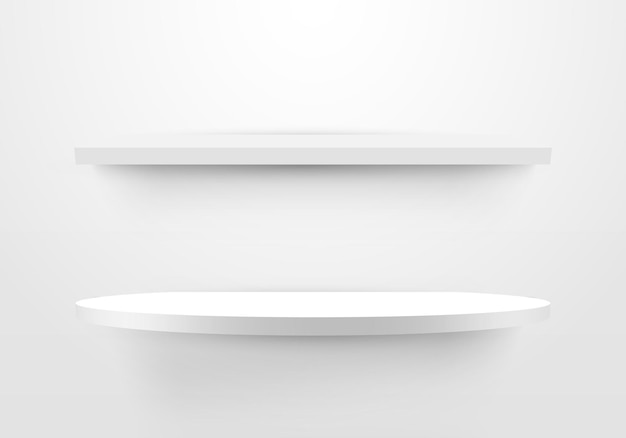 3d空の白い棚