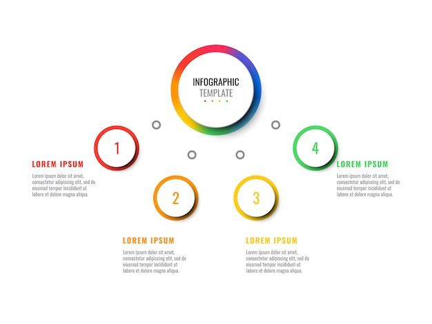 Бизнес 3d реалистичные инфографики с четырьмя шагами. современный инфографический шаблон с круглыми элементами для брошюры, диаграммы, технологического процесса, графика, веб-дизайна. eps10