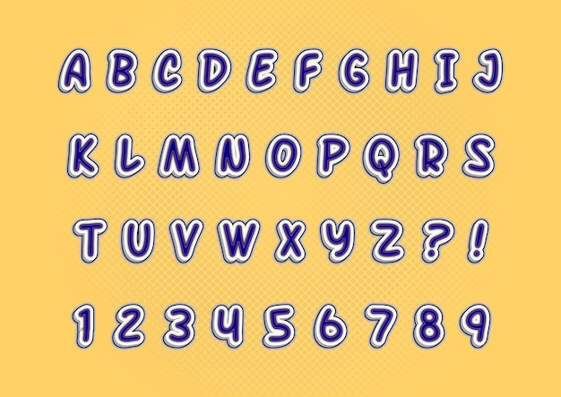 3d 지우개 스타일 효과 알파벳 숫자 세트