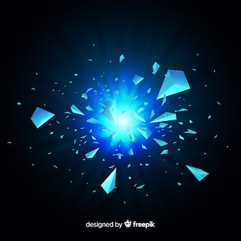 3d explosion with light background