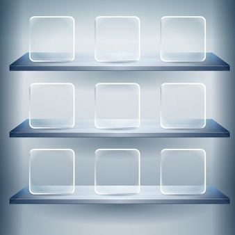 3d expositor shelves for exhibit with empty glass buttons