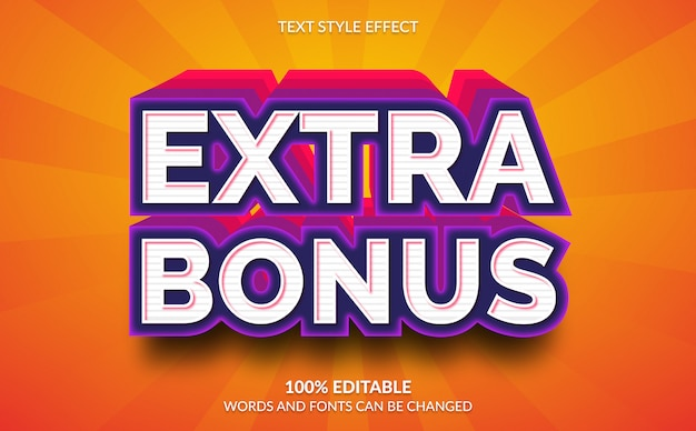 Редактируемый текстовый эффект, 3d extra bonus text style