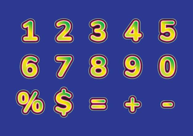3dファッショナブルな数字セット
