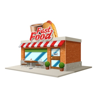 3d fast food restaurant or cafe building isolated on white background