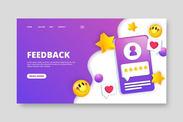 Modello di pagina di destinazione del feedback 3d