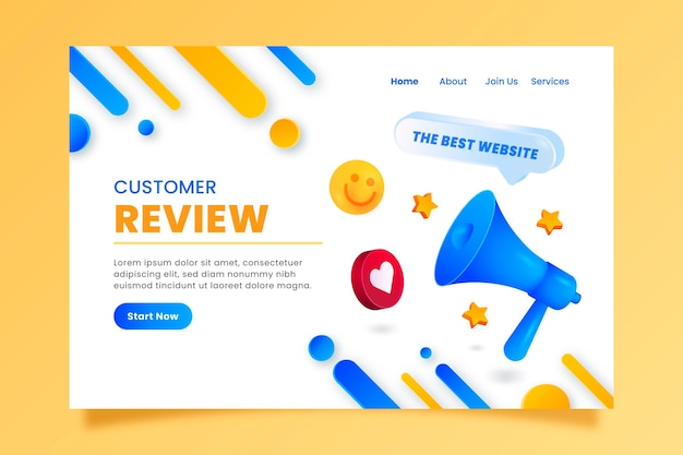 3d feedback landing page template
