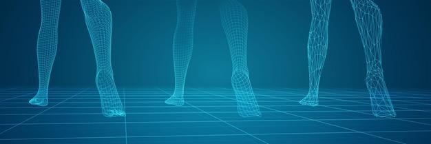 3d 여성 다리 세트, 파란색 배경에 고립 자신감 단계