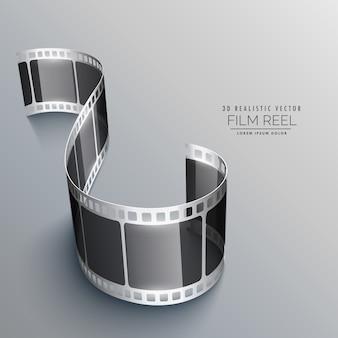 Striscia di pellicola in 3d su sfondo grigio di progettazione