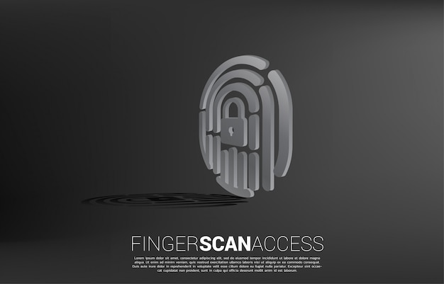 3d finger scan with lock pad center icon.