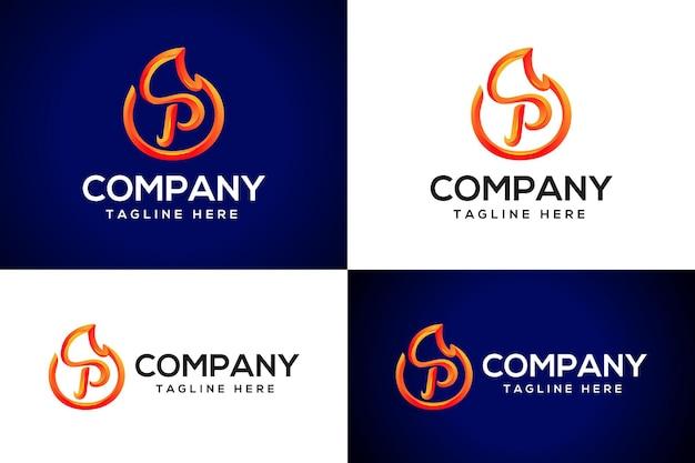 3d огонь логотип буква p