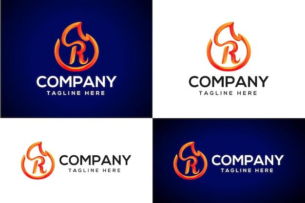 3d огонь логотип буква r