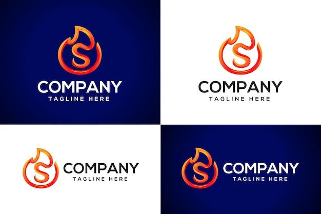 3d огонь логотип буква s