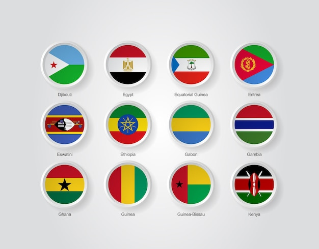 3d flag icons of africa countries part 02