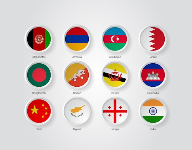 3d flag icons of asian countries part 01