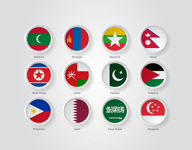 3d flag icons of asian countries part 03