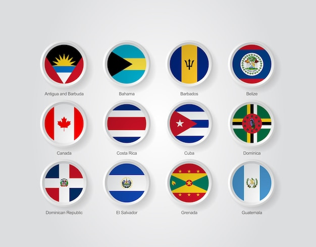 3d flag icons of north america countries part 01