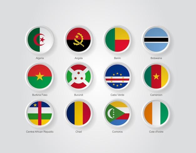 아프리카 국가 부품 01의 3d 국기 아이콘