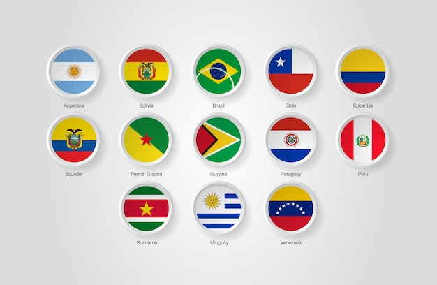 3d flag icons of sorth america countries