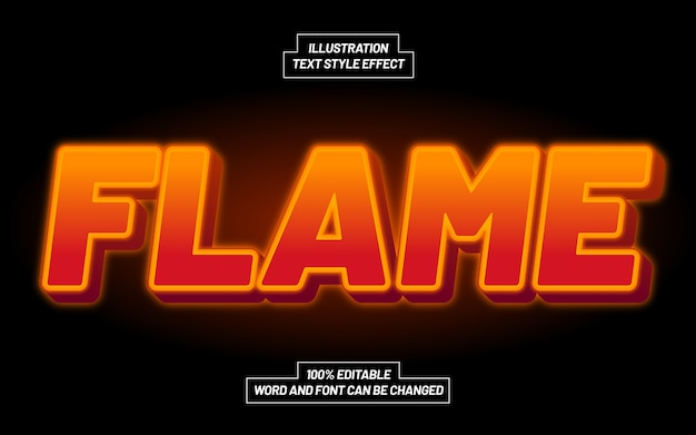 3d flame bold text style effect