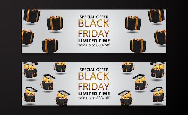 3d float box present gift illustration with golden ribbon for black friday sale offer discount banner poster template for luxury elegant commercial product