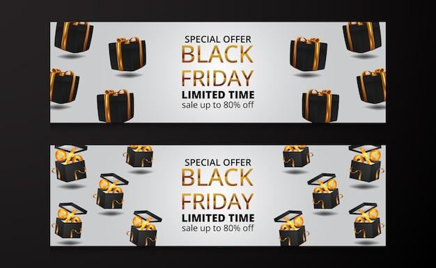 3d float box присутствует подарочная иллюстрация с золотой лентой для черной пятницы распродажа предлагает скидку баннер плакат шаблон для роскошного элегантного коммерческого продукта