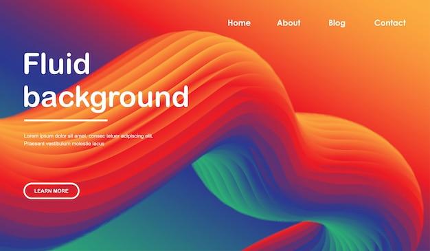 3d flow. liquid wave landing page web template