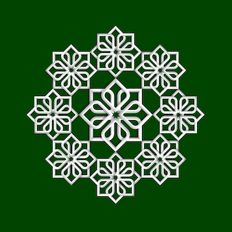 3d flower pattern in arabic style