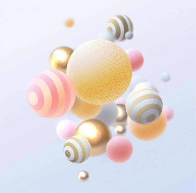 3d плавные сферы. абстрактные иллюстрации разноцветных пузырей или кластера шаров. современная модная концепция.
