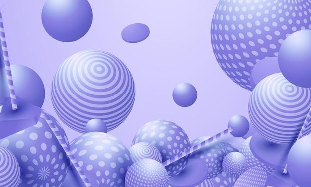 3d流れる球。色とりどりの泡やボールクラスターのベクトルの抽象的なイラスト。現代の流行のコンセプト。ダイナミックな装飾要素。未来的なポスターやカバーデザイン