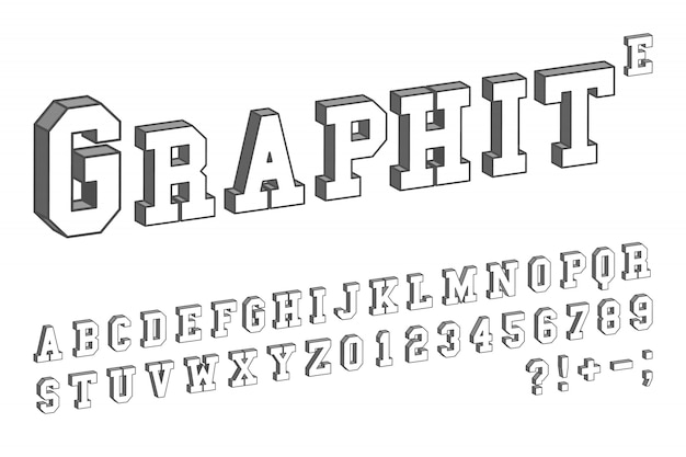 3d font template. letters and numbers isometric design. vector illustration.