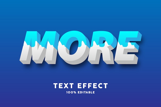 3d fresh blue and white milk style text effect