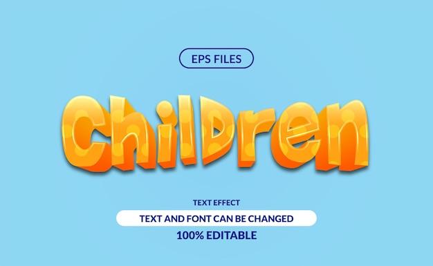 3d楽しい子供たちの編集可能なテキスト効果。