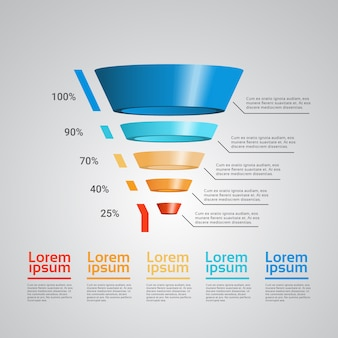 3d funnel infographic template