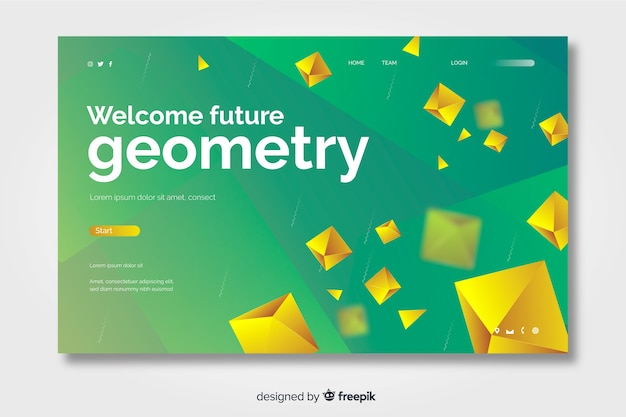 3d future geometric landing page with golden diamonds
