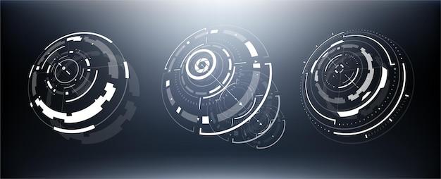 3d未来技術hudインターフェース要素セット。