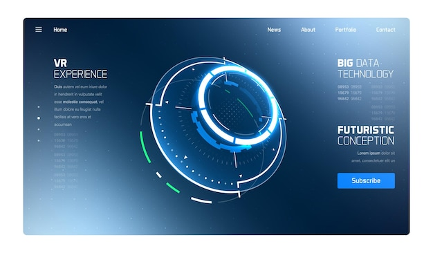 3d futuristic technology hud interface landing page