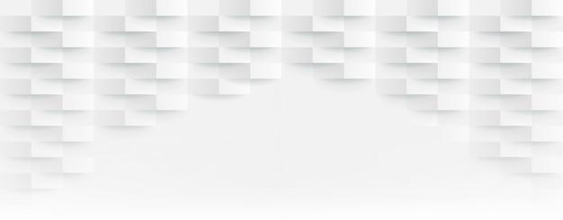 3 dの未来的なホワイトペーパーコーナーモザイクホワイトバックグラウンド。現実的な幾何学的なメッシュの長方形のテクスチャ。六角形のグリッドで抽象的な白い壁紙